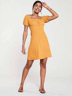 v-by-very-ruched-shoulder-mini-dress-mustard
