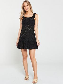 v-by-very-swimwear-jersey-cut-out-mini-shoulder-dress-black