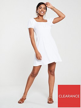 v-by-very-textured-ruched-shoulder-dress-white