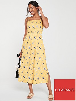 v-by-very-printed-ruched-midi-dress-yellowfloral