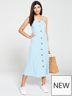 babbce3c239b7 V by Very Gingham Button Through Jersey Midi Dress - Blue White
