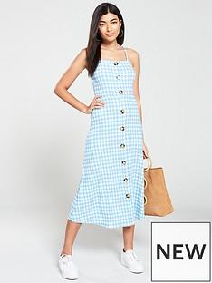 6da48429d6 V by Very Gingham Button Through Jersey Midi Dress - Blue White