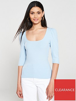 v-by-very-boat-neck-puff-sleeve-ribbed-top-blue
