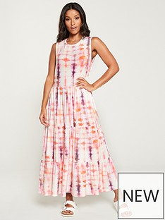 37aa066e9964 V by Very Tie Dye Frill Jersey Midi Dress - Pink