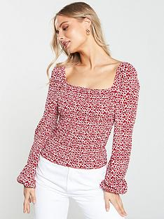 6ba6e354d V by Very Shirred Puff Sleeve Milkmaid Top - Red Print