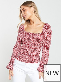 199ebe73f8 V by Very Shirred Puff Sleeve Milkmaid Top - Red Print