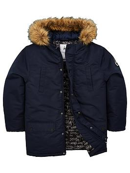 hype-boys-faux-fur-hoodednbspcoat-navy