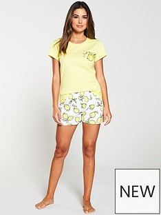a6dd76394dd94 V by Very Lemon Slogan Short Pyjama Set - White Yellow