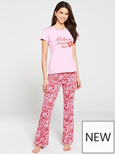5c7d030a01baf V by Very Palm Leaf Flare PJ Set - Red Pink