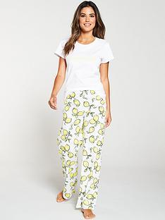 b248ff1d1 V by Very Lemon Slogan Short Sleeve Pyjama Set - White Yellow
