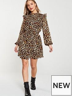 v-by-very-leopard-shirred-yoke-tea-dress-print