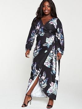 little-mistress-curve-black-floral-long-sleeve-maxi-dress-multi