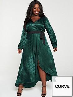 little-mistress-curve-polka-dot-asymmetric-maxi-wrap-dress-greennbsp