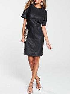 v-by-very-pu-mini-dress-black