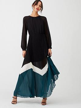 v-by-very-colour-block-pleated-maxi-dress-multi