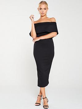 coast-roxanne-scuba-bardot-dress-black
