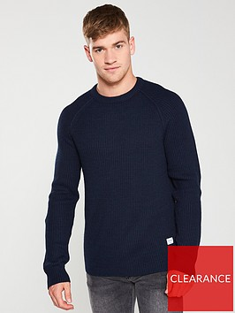 jack-jones-pannel-knitted-jumper-navy