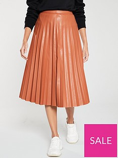 v-by-very-faux-leather-pleated-midi-skirt-tan
