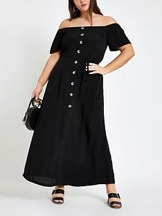 f9f9f4f7438b RI Plus Ri Plus Bardot Button Through Maxi Dress- Black