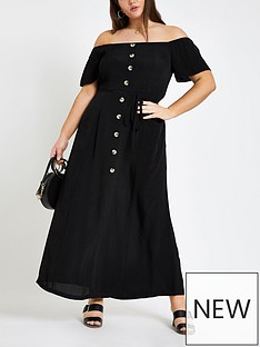 d1122f32ef2 RI Plus Ri Plus Bardot Button Through Maxi Dress- Black