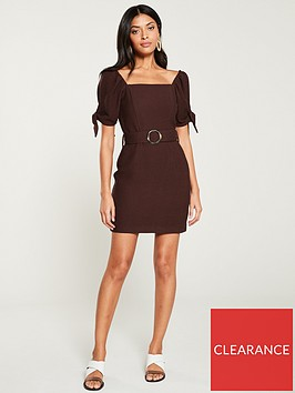 river-island-river-island-puff-sleeve-belted-mini-dress--chocolate
