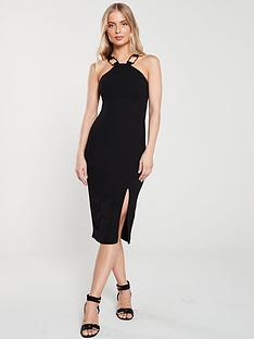 c41d9cdb2e21c River Island River Island Horn Trim Bodycon Dress- Black