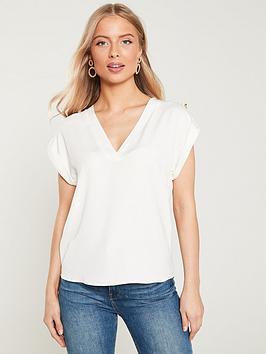 river-island-river-island-button-detail-woven-t-shirt-white