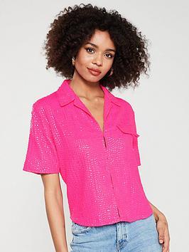 river-island-river-island-sequin-short-sleeve-shirt--pink