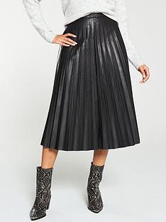 v-by-very-faux-leather-pleatednbspmidi-skirt-black