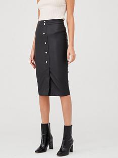 v-by-very-faux-leather-button-front-midi-skirt-black
