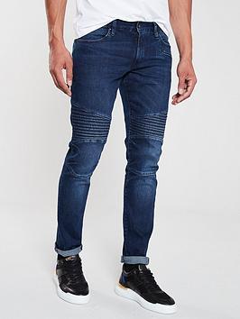 armani-exchange-five-pocket-panelled-skinny-jeans-navy
