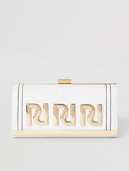 river-island-river-island-branded-clip-top-purse-white