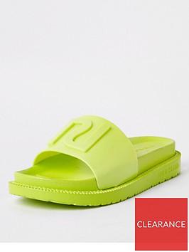 river-island-neon-slider-green
