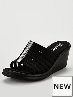 1986200855 Skechers Rumblers Hotshot Wedge Sandals - Black