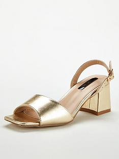 6e32b55211acb Lost Ink Riva Square Mid Flared Heeled Sandals - Gold