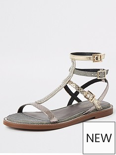 cf434ce24d2f River Island River Island Shimmer Gladiator Sandals - Silver