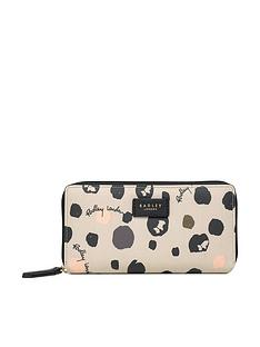 radley-bubble-dog-large-zip-around-matinee-purse-grey