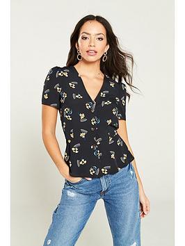 river-island-river-island-floral-button-through-tea-blouse--black