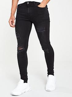11-degrees-essential-super-stretch-distressed-skinny-jeans-black