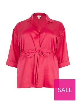 ri-plus-batwing-tie-waist-blouse--pink