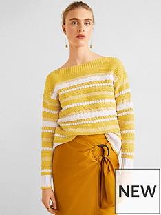 mango-mango-jaquard-cable-knit-off-shoulder-jumper