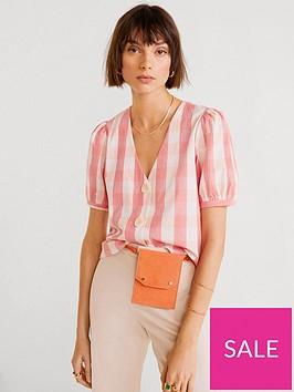 mango-gingham-check-button-down-blouse
