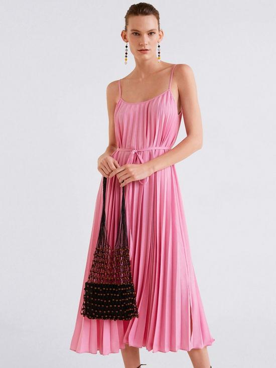 6edb7a3ebde6 Mango Strappy Pleated Midi Dress | very.co.uk
