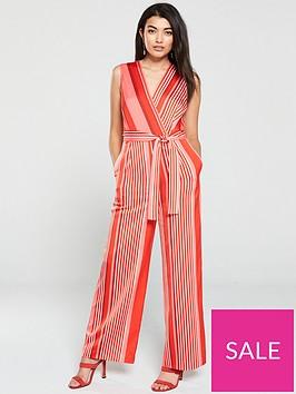 mango-stripe-belted-wide-leg-jumpsuit-red