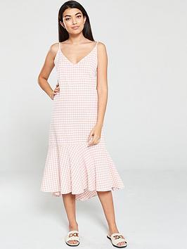 mango-gingham-check-strappy-frill-hem-midi-dress-pastel-pink