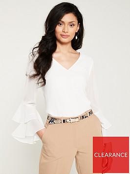 wallis-v-neck-ruffle-sleeve-top-cream