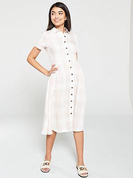 mango-ginghamnbspcheck-midi-shirt-dress-pink