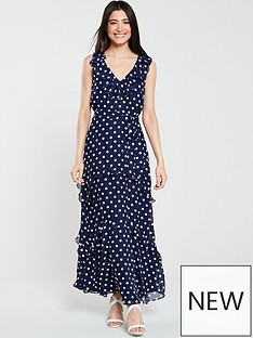 wallis-spot-frill-detail-maxi-dress-navy