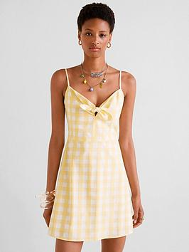 mango-gingham-check-bow-front-dress