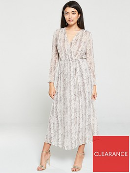 mango-snake-print-wrap-dress-grey